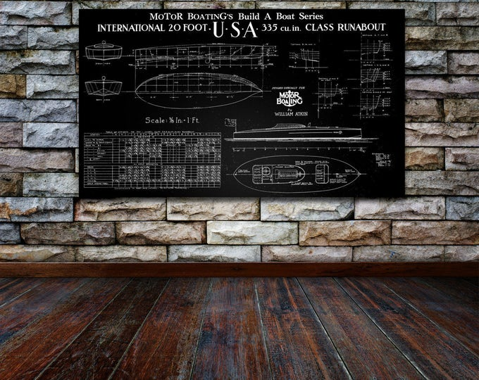 Vintage Print of USA Runabout Diagram Line Drawing Schematic Blueprint on Matte Paper, Photo Paper or Stretched Canvas