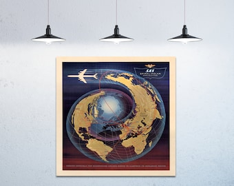 Print of Scandinavian Airlines System Worldwide Routes on your choice of Photo Paper, Matte Paper or Canvas Giclee