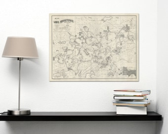 Vintage Print of Lake Minnetonka Map on Matte Paper, Photo Paper, or Stretched Canvas
