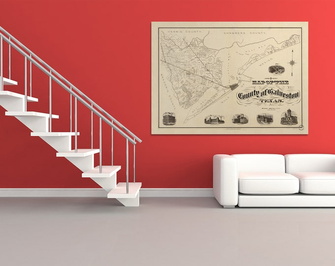 Print of Antique Map of the County of Galveston Texas on Photo Paper, Matte Paper or Stretched Canvas
