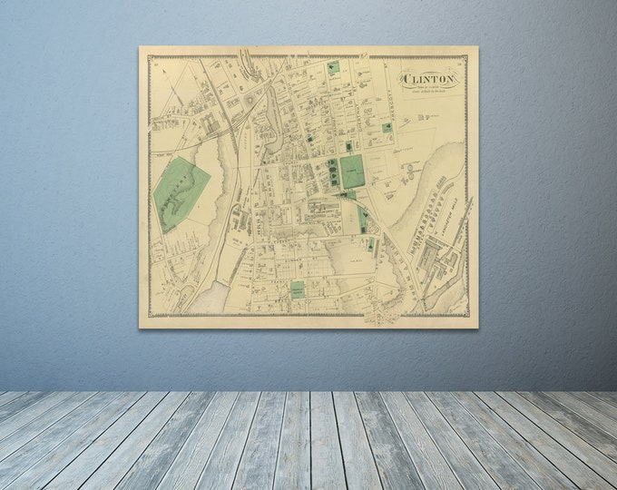 Print of Antique Map of Clinton Massachusetts on Photo Paper, Matte Paper or Stretched Canvas