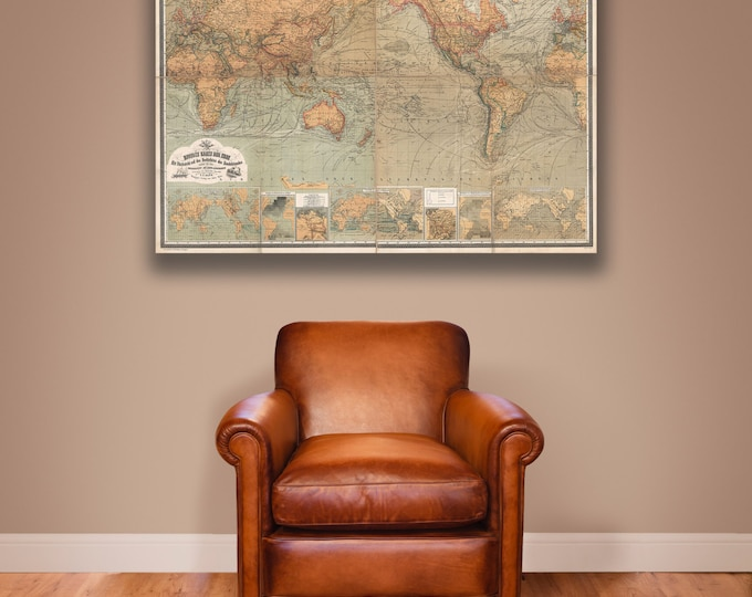 Print of Antique Map of the World by Baur and Bromme on Photo Paper Matte Paper or Stretched Canvas
