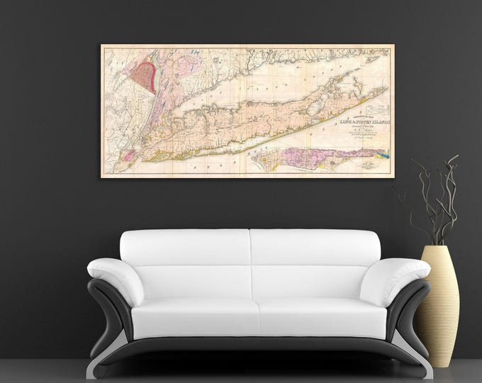 Vintage Antique Print of Long Island Map on Your Choice of Photo Paper, Matte Paper or Stretched Canvas
