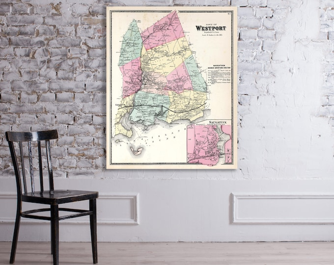 Print of Antique Map of Westport, Connecticut on Matte Paper, Photo Paper, or Stretched Canvas. Free Shipping!