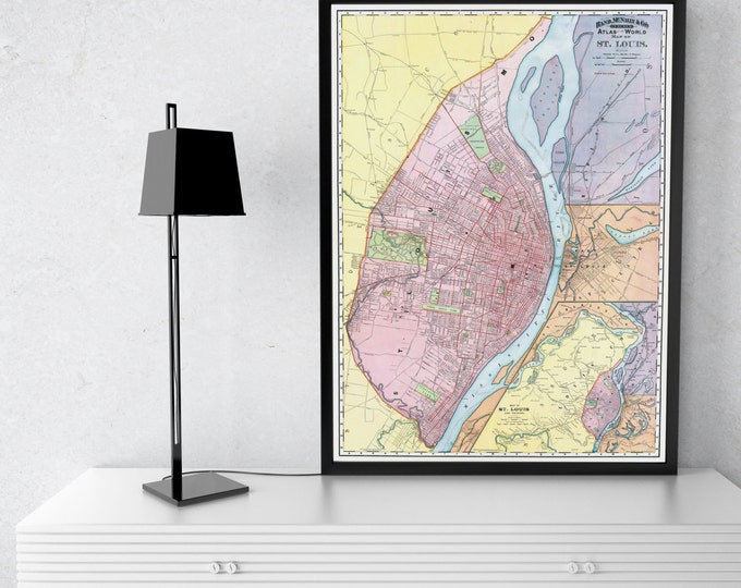 Print of Vintage St. Louis Map on Photo Paper, Matte Paper, and Stretched Canvas