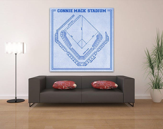 Print of Vintage Connie Mack Stadium Seating Chart on Photo Paper, Matte paper or Canvas