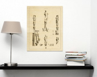 Print of Engraving of Statuettes  in Chartres Cathedral on Photo Paper, Matte Paper or Stretched Canvas