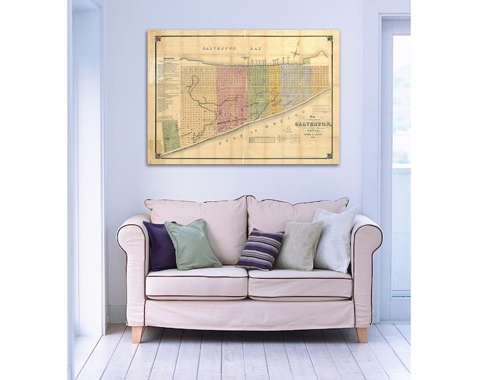 Print of Vintage Texas Galveston Map on Photo Paper, Matte Paper, or Canvas. Free Shipping!