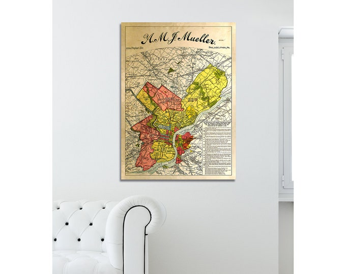 Vintage Style Print of Philadelphia Map Featuring Delaware River on Premium Luster Photo Paper, Heavy Duty Matte Paper, or Stretched Canvas
