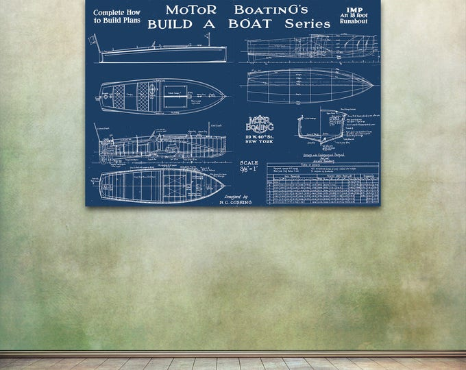 Print of Vintage IMP Boat Blueprint from Motor Boating's Build a Boat Series on Your Choice of Matte Paper, Photo Paper, or Canvas