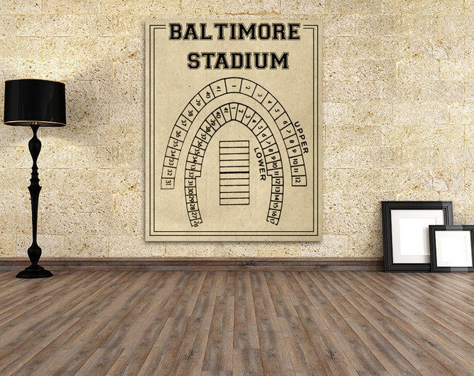 Print of Vintage Baltimore Stadium in Maryland Seating Chart Seating Chart on Photo Paper, Matte paper or Canvas
