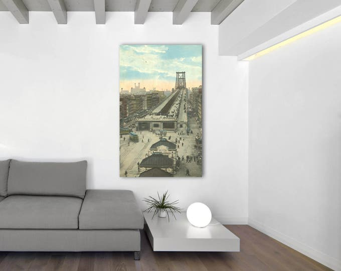 Antique Vintage Style Print of Williamsburg Bridge Approach, New York City on Photo Paper, Matte Paper or Stretched Canvas