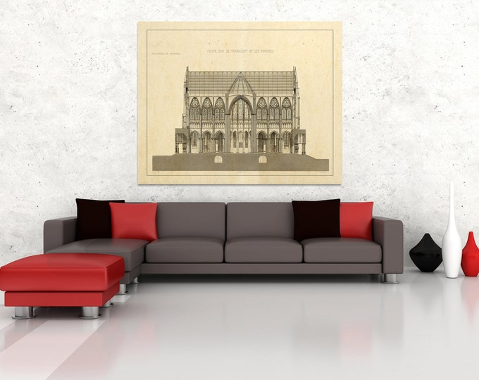 Antique Print of Engraving of Chartres Cathedral on your choice of color and Photo Paper, Matte Paper or Canvas Giclee