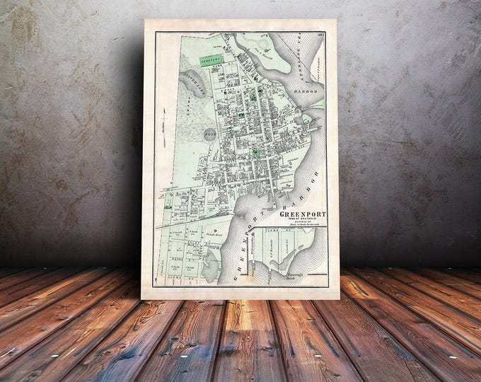 Vintage Print of a Map of Greenport in Southold Suffolk County of Long Island New York. Free Shipping on all Items!