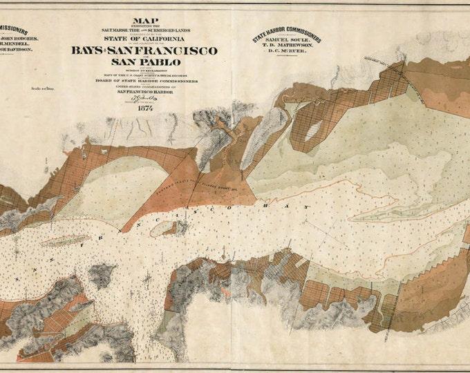 Antique vintage style Bays San Francisco San Pablo Photo Paper, Matte or Canvas Wall Art Decor ca California nautical chart