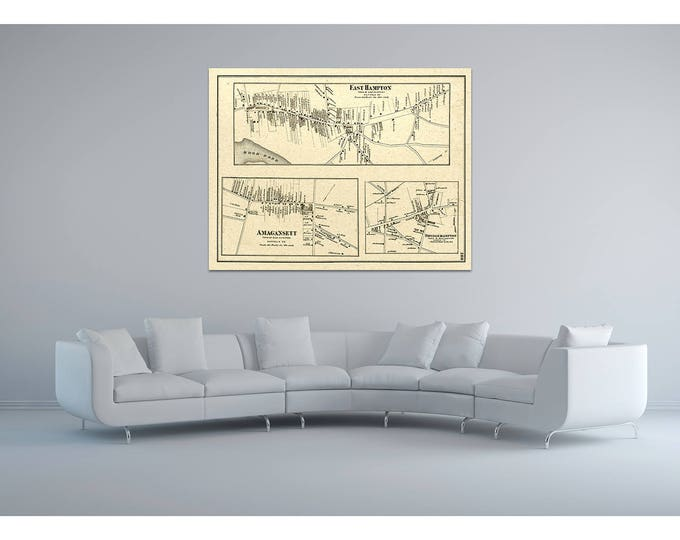 Print of Antique Map of East Hampton and Amaganset Long Island on Matte Paper, Photo Paper, or Stretched Canvas. Free Shipping!