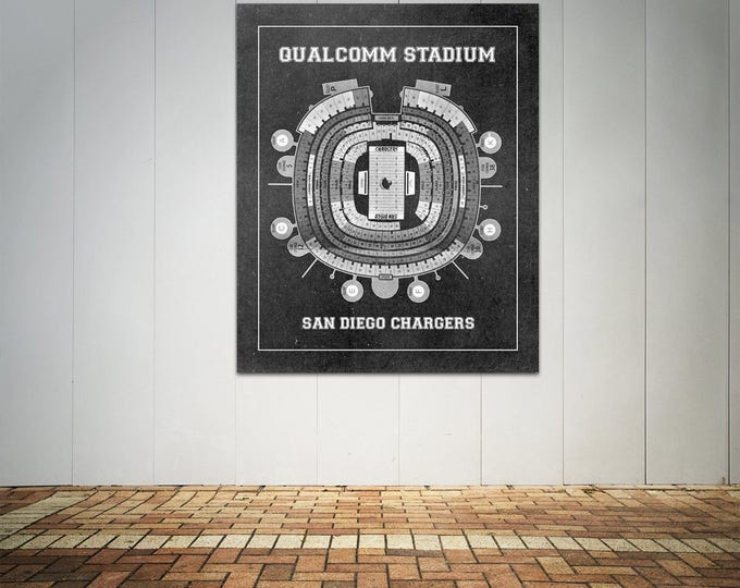 Print of Vintage Qualcomm Stadium Seating Chart Seating Chart on Photo Paper, Matte paper or Canvas