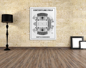 Vintage Style Print of Centurylink Field Seating Chart on Photo Paper, Matte Paper, or Stretched Canvas