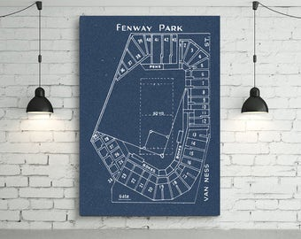 Print of Vintage Fenway Park Seating Chart Seating Chart on Photo Paper, Matte paper or Canvas