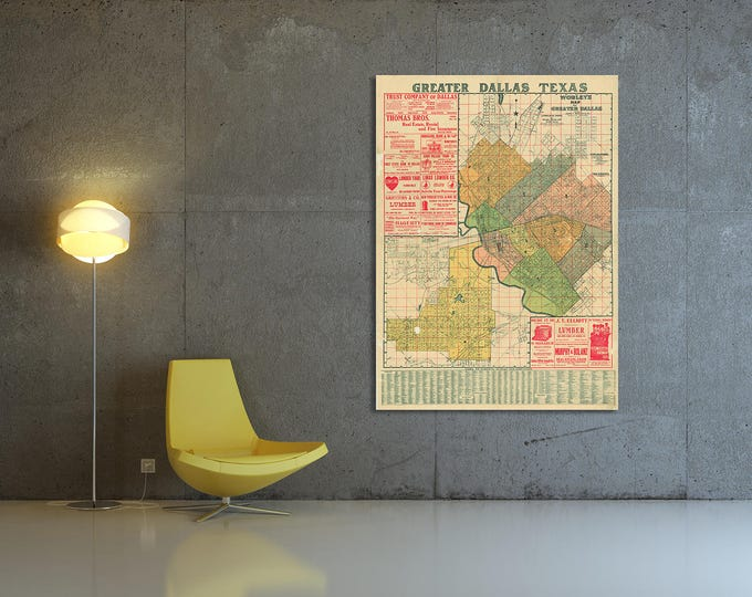 Print of Antique Map Featuring Greater Dallas Texas on Canvas, Photo Paper, Matte Paper. Free Shipping!