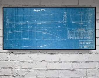 Print of Vintage V-BOTTOM Boat Blueprint from Motor Boating's Build a Boat Series on Your Choice of Matte Paper, Photo Paper, or Canvas