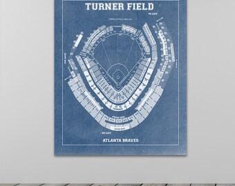 Vintage Atlanta Braves Turner Field Diagram on Photo Paper, Matte paper or Canvas Sports Stadium Tickets Art Home Decor Line Drawing