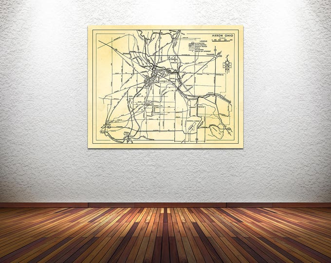 Print of Antique Akron Ohio Map on Photo Paper Matte Paper and Canvas. Free Shipping!