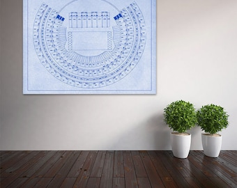 Vintage Style Print of Oakland-Alameda County Coliseum on Photo Paper, Matte Paper, or Stretched Canvas