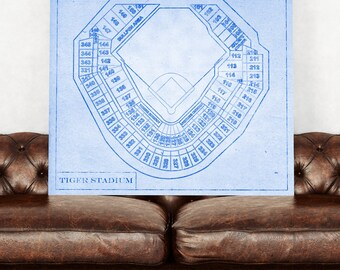Print of Vintage Detroit Tiger Stadium Seating Chart on Photo Paper, Matte Paper, or Canvas