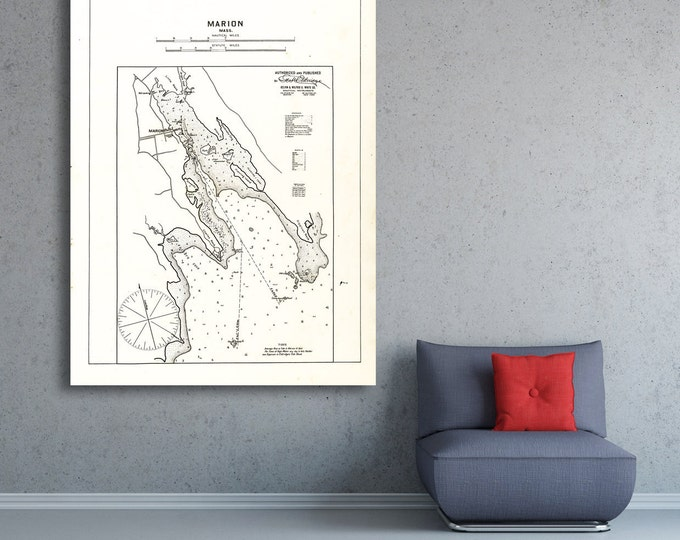 Antique Print of a Marion, Massachusetts Nautical Chart on your choice of Photo Paper, Matte Paper or Canvas Giclee