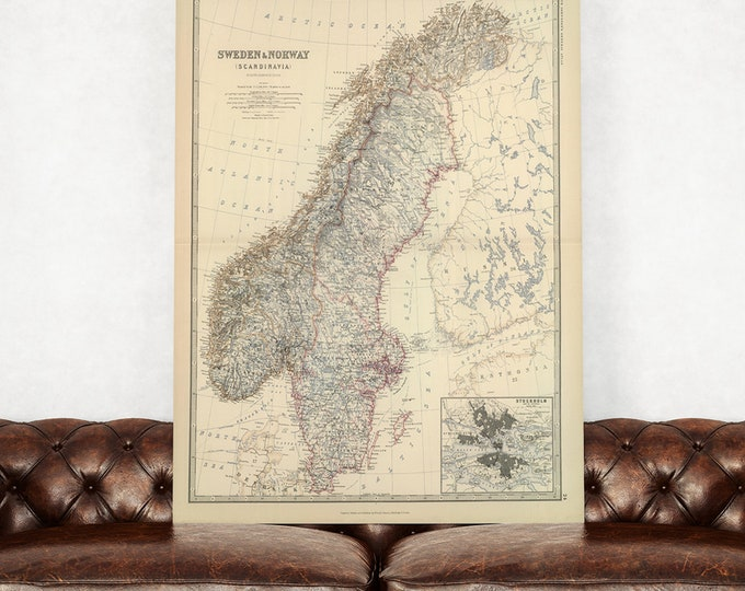 Print of Antique Map of Sweden and Norway Scandinavia  on Photo Paper, Matte Paper or Stretched Canvas