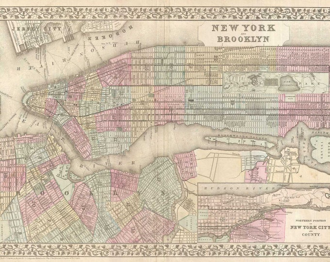 Vintage Print of New York City and Brooklyn Map on Matte Paper, Photo Paper, or Stretched Canvas