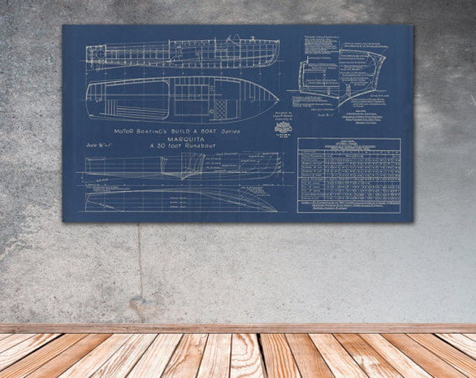 Print of Vintage MARQUITA Boat Blueprint from Motor Boating's Build a Boat Series on Your Choice of Matte Paper, Photo Paper, or Canvas