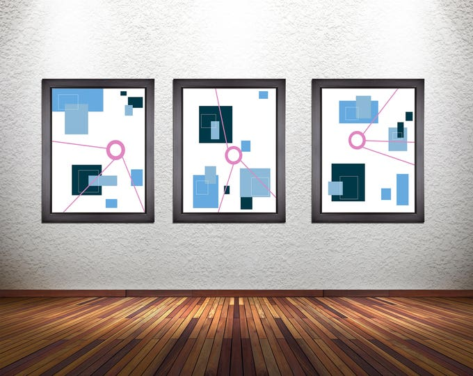 Set of 3 Modern Abstract Art Prints on Photo Paper, Matte Paper, or Stretched Canvas