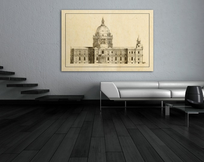 Antique Print of French Building Elevation on your choice of color and Photo Paper, Matte Paper or Canvas Giclee.