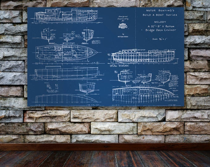 Print of Vintage MELODY Boat Blueprint from Motor Boating's Build a Boat Series on Your Choice of Matte Paper, Photo Paper, or Canvas