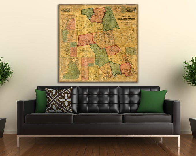 Print of Vintage Map of Middlesex County, Connecticut on Photo Paper, Matte Paper, or Stretched Canvas