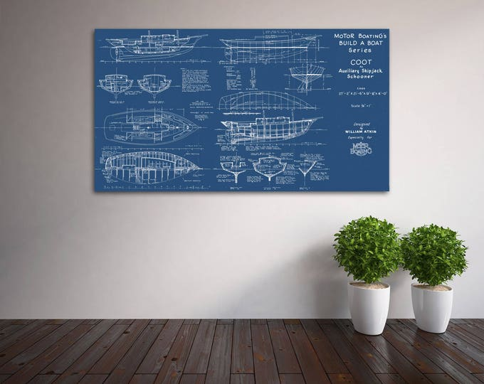 Print of Vintage COOT Boat Blueprint from Motor Boating's Build a Boat Series on Your Choice of Matte Paper, Photo Paper, or Canvas