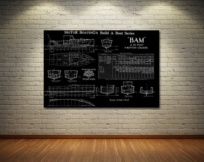 Print of Vintage BAM Boat Blueprint from Motor Boating's Build a Boat Series on Your Choice of Matte Paper, Photo Paper, or Canvas