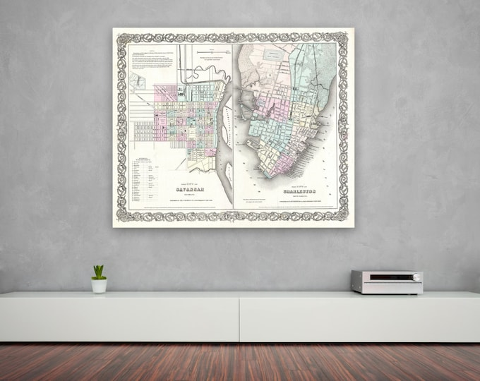 Antique Print of Savannah Georgia and Charleston South Carolina on your choice of Photo Paper, Matte Paper or Canvas Giclee