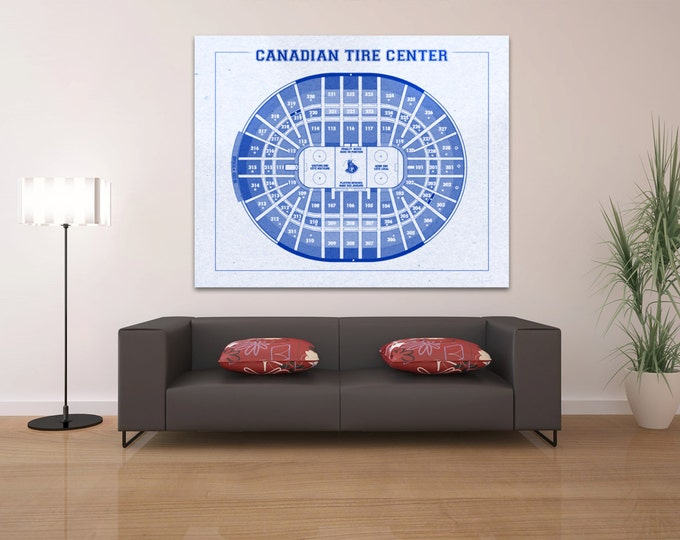 Vintage Canadian Tire Center Ottawa Senators on Photo Paper, Matte paper or Canvas Sports Stadium Tickets Art Home Decor Line Drawing