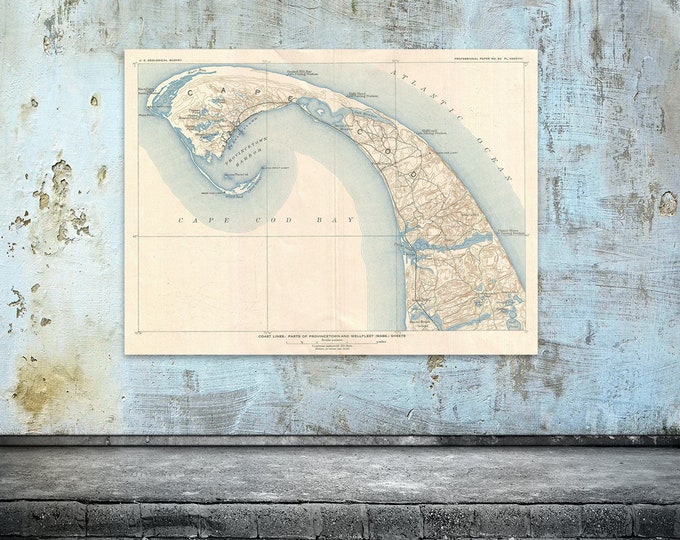 Print of Antique Map of Cape Cod Bay Massachusetts on Photo Paper, Matte Paper or Stretched Canvas