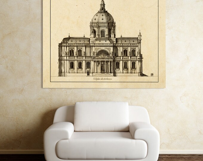 Antique Print of French Architecture Church of Sorbonne on your choice of color and Photo Paper, Matte Paper or Canvas Giclee.