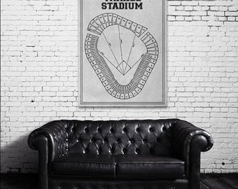 Vintage Print of Yankee Stadium Seating Chart New York Yankees Baseball Blueprint on Photo Paper, Matte Paper or Stretched Canvas