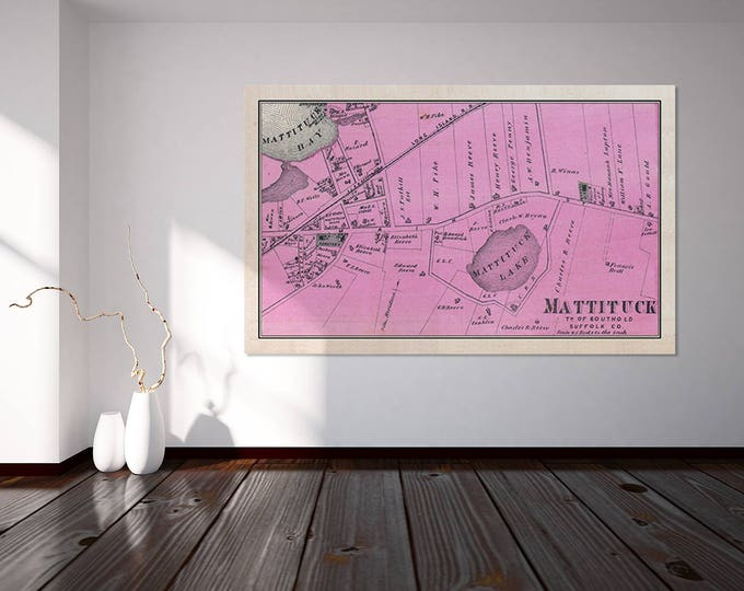 Print of Mattituck Antique Map of Suffolk County on Matte Paper Photo Paper or Canvas. Free Shipping!