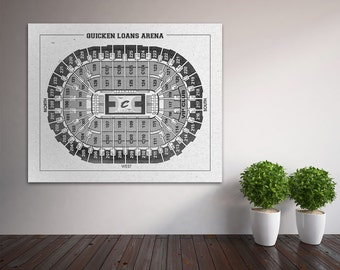 Vintage Print of Quickens Loan Arena Seating Chart FREE Shipping Cleveland Cavaliers Blueprint Photo Matte Canvas Home Decor NBA Sports Wall