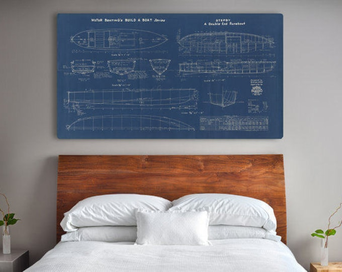 Print of Vintage STEPBY Boat Blueprint from Motor Boating's Build a Boat Series on Your Choice of Matte Paper, Photo Paper, or Canvas
