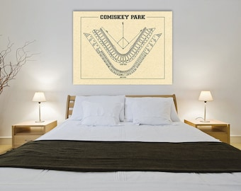 Vintage Print of Comiskey Park Seating Chart Chicago White Sox Baseball Blueprint on Photo Paper, Matte Paper or Stretched Canvas