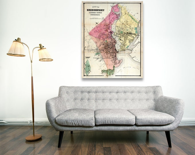 Print of Antique Map of Bridgeport, Fairfield County, Connecticut on Photo Paper, Matte Paper and Stretched Canvas