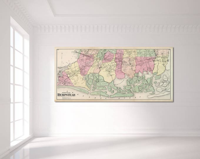 Print of Antique Map of South Hempstead, Long Island, New York on Photo Paper, Matte Paper or Stretched Canvas